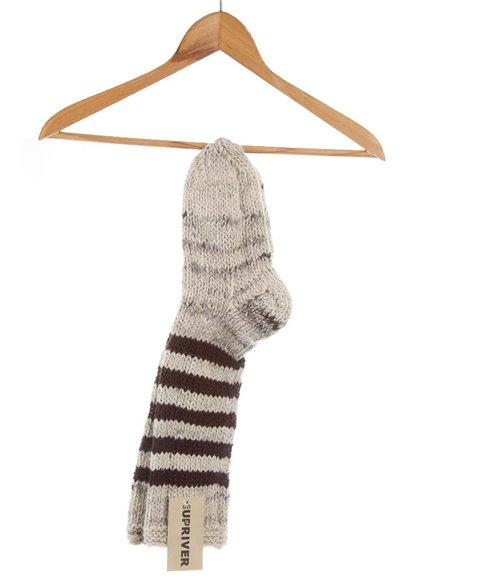 Pletené ponožky tmavě hnědé pruhované