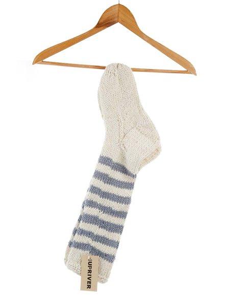 Pletené ponožky šedé pruhované