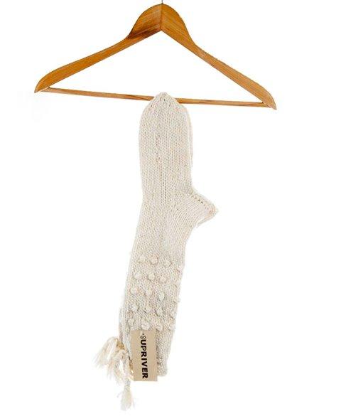 Pletené ponožky bílé